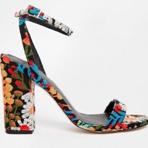 Asos Floral Embroidery Heeled Sandals